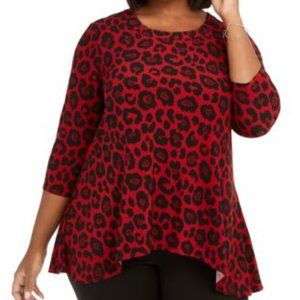 NWT Anne Klein Red and Black Animal Print Blouse